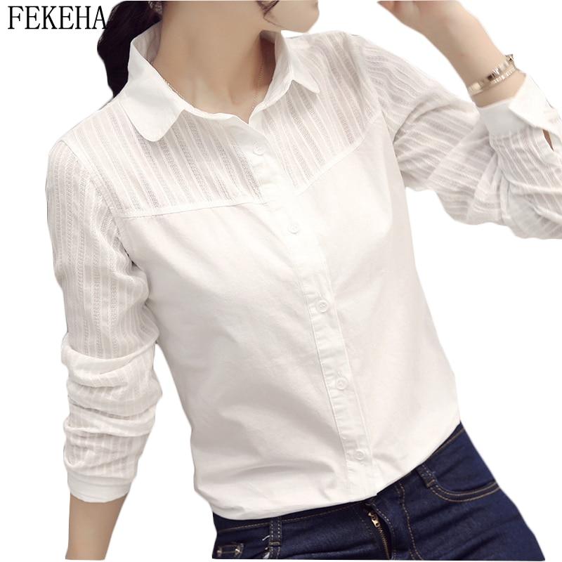 100% Cotton Shirt Women Blouses Long Sleeve Autumn Slim Casual White Office Shirt OL Blusas Feminine Lady Tops