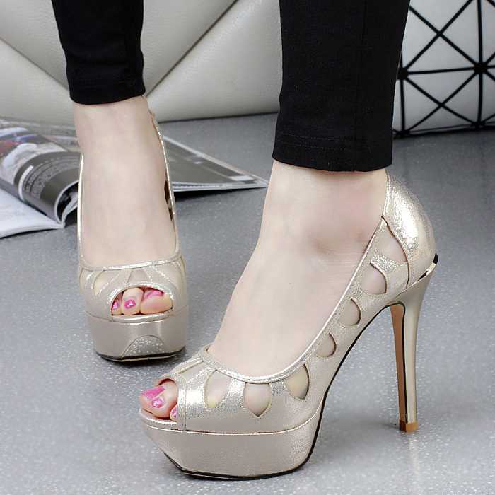 summer new mesh peep toe thin high heels pumps with platform sandals women hollow out transparent PU sliver gold elegant sandals