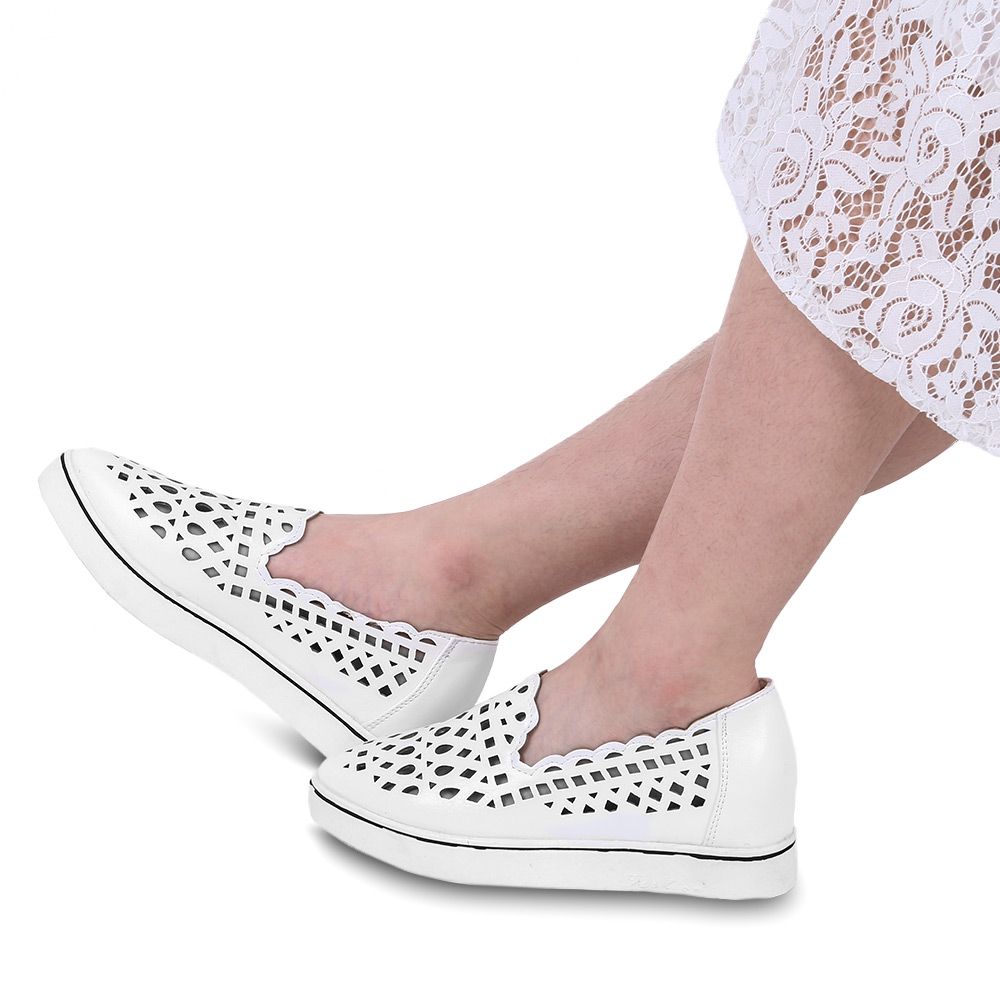 Guapabien Women Flat Shoes Summer Spring Slip On Soft moccasins Casual Hollow Out Pointed Toe Ladies Height Increasing Shoes sweet women high quality bowtie pointed toe flock flat shoes women casual summer ladies slip on casual zapatos mujer bt123