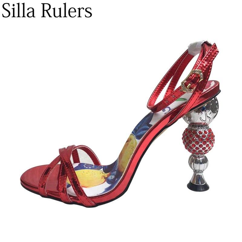 Ayakk.'ten Yüksek Topuklular'de 2019 Pist Yeni Rhinestone Top Yüksek Topuklu Ayak Bileği Kayış Sandalet Kadın Peep Toe Bayanlar Yaz Sandalet parti ayakkabıları Kadın Mujer'da  Grup 1
