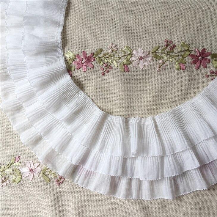 Diy Wedding Gowns: 3yard/lot 3 Layer Chiffon Ruffles Lace Trimming Diy