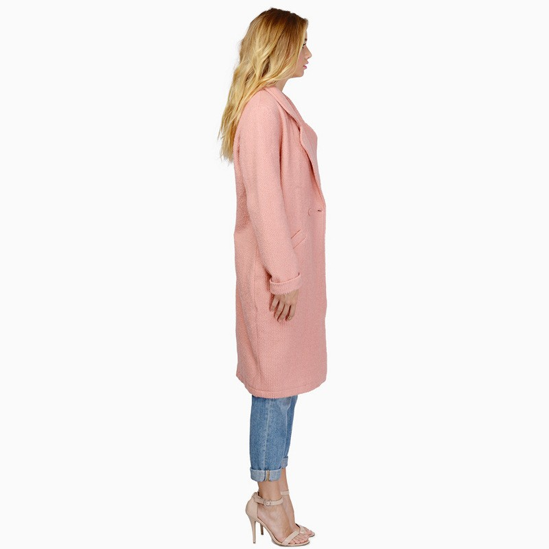 Autumn Winter New Fashion Pink Trench Coat Ladies Office Turn Down Collar Trench Coat For Women Windbreaker Coat Female CT111 (2)