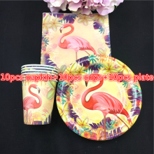 30pcs Flamingo theme 10pcs paper cups+10pcs plates+10pcs napkins for kids Flamingo birthday party Tableset decoration 10pcs mn3005