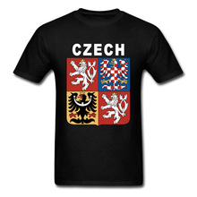Coat of arms the Czech Republic Symbol Flag T Shirt Heraldry Emblem National Day Mens Tops Shirts Cotton High Quality