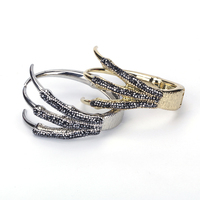 New Animal Wolf Dragon Claw Pave Black Rhinestone Bead Charm Gold Silver Color Easy Clasp Metal