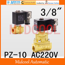 High temperature steam brass solenoid valve normal closed AC220V PZ-10 port 3/8″steam type