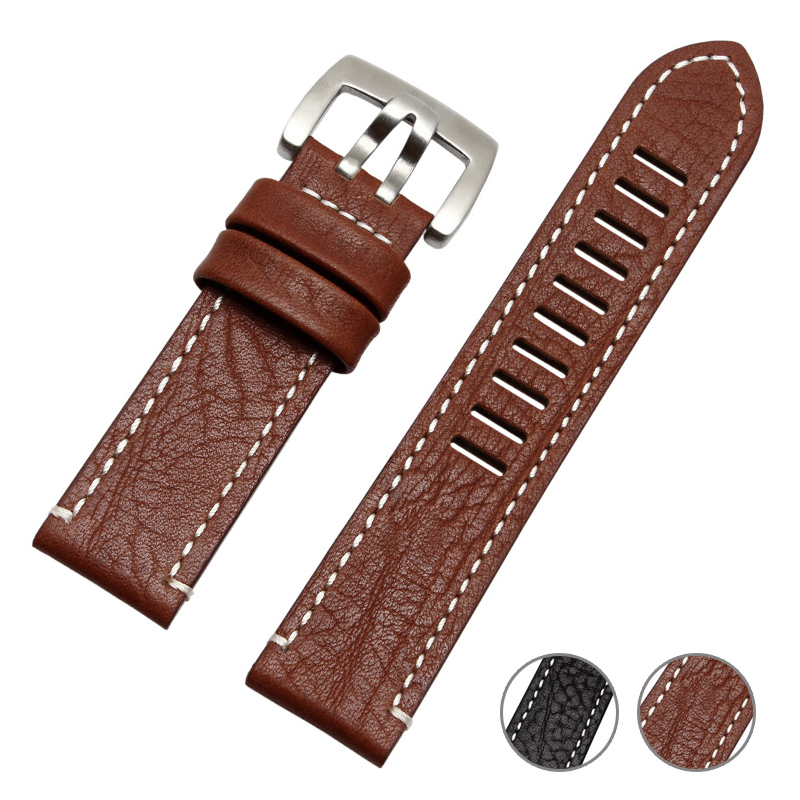 все цены на EACHE popular men watchbands Vintage Genuine Leather with handmade stitching Replacement Watchband for L watch brand strap