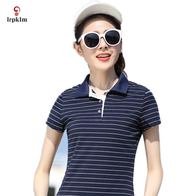 M-5XL Women Top 2017 Summer Hot Sale Striped Short Causal Style Turn Down Collar Short Sleeve Breathable Women Polo Shirt YY695
