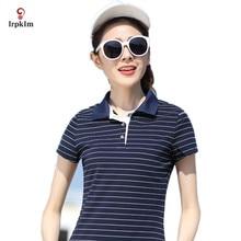 M-5XL Women Top 2017 Summer Hot Sale Striped Short Causal Style Turn Down Collar Short Sleeve Breathable Women Polo Shirt YY695