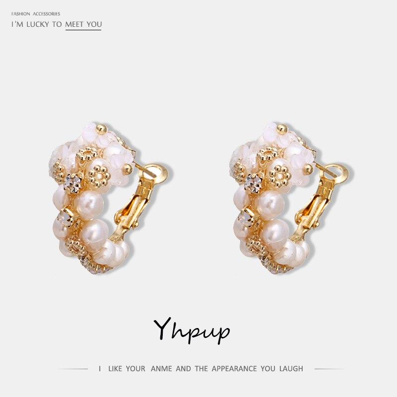 Yhpup Trendy Copper Natural Pearls Handmade Shell Flower Hoop Earrings Luxury Crystal Rhinestone for Bride Wedding Jewelry Gift