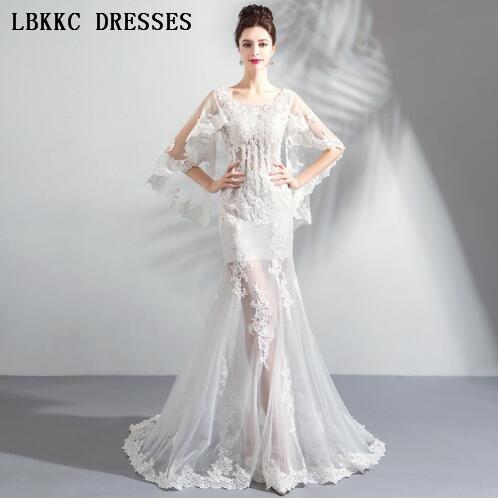 Half Sleeves Mermaid   Evening     Dresses   See Through Floor Length Formal   Evening     Dresses   Abiye Gece Elbisesi 2018