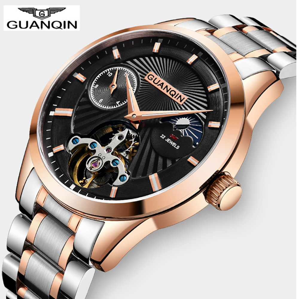 GUANQIN Moon Phase Top Brand Mens Mechanical Watches Automatic Tourbillon Skeleton Watch Men Clock Relogios Support Dropshipping