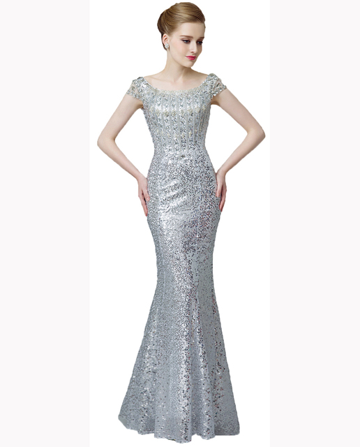 0b773863acb34 Women's Gorgeous jersey sequin Trim Mermaid crystal Prom Evening Dresses  Long homecoming Dress Gown formal for