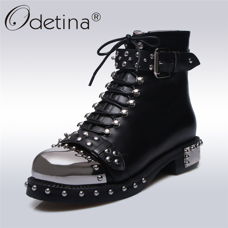 Odetina 2017 New Rivet Motorcycle Boots Lace Up and Side Zipper Ankle Boots Metal Toe Low Chunky Heel Punk Shoes Plus Size 34-43 hot sale womens pu leather shoes lace up rivet metal decoration punk style prom ankle boots for women casual footwear plus size