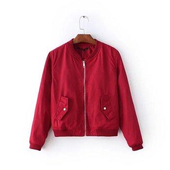 Women biker jacket short coat baseball bomber jackets female outwear red green black 3color long sleeve S-XL bomberjack vrouwen zipper