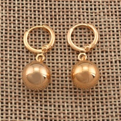 Anniyo Light Gold/Yellow Gold Color Bead Earrings for Women Girls African Round Ball Earring Ethiopian Jewelry Nigerian #121506