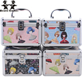 wenjie brother new design lovely Make upBox with mirror Makeup Case Beauty Case Cosmetic Bag Lockable Jewelry Box for lady gift