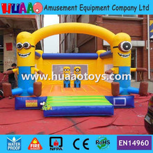 Free shipping 5*5m Minions inflatable bouncer castle with free CE blower and repair kit