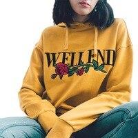 Women Harajuku Long Sleeve Pullover Hoodies Sweatshirt Letter Rose Print Girl Yellow Hoodies 2017 New Autumn