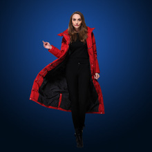 Winter Down jacket for women Europe and the USA Slim long design thick down jacket black blue and red duck down coat W1608