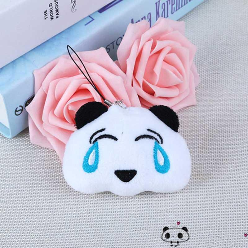 Mode mignon Panda jouets en peluche animaux porte-clés chaîne femme sac charmes ours pompon homme voiture porte-clés amoureux fête bibelot poupée cadeau