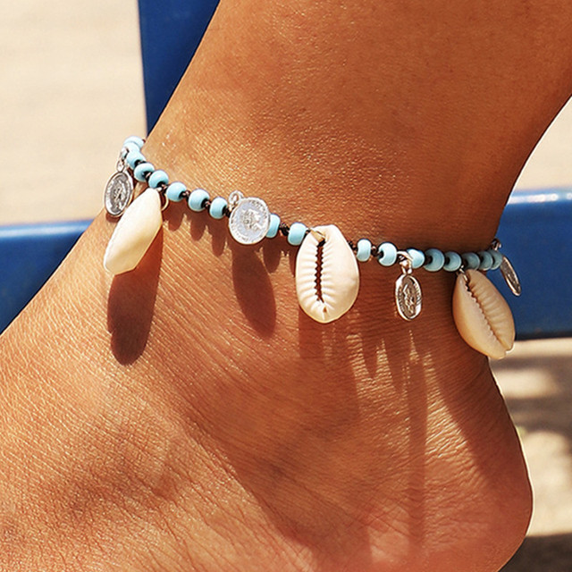 DIEZI Bohemian Summer Beach Girls Handmade Beads Anklet Vintage Sexy Shell Rope Chain Weave Bracelets for Women Jewelry