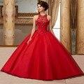 Nuevo Diseño de Vestidos de 15 anos vestido de Bola Cristales Rebordear Espalda Abierta Vestidos Del Quinceanera Rojo Turquesa Vestidos de la Marina