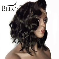 BEEOS 250% Density Peruvian Lace Front Human Hair Wigs Curly Wigs For Women With Baby hair Bleached Knots Remy Hair 10 16 Inch