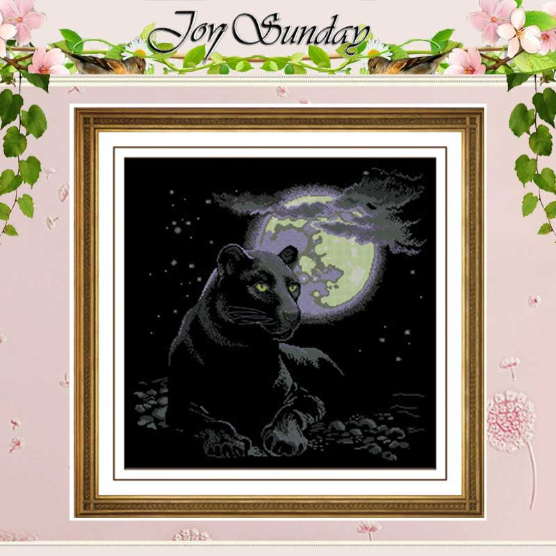 Needlework ,The moonlight Counted Cross Stitch 14CT Black Blank Canvas Animals Cross-stitch Kits DIY Set for Embroidery Stitch