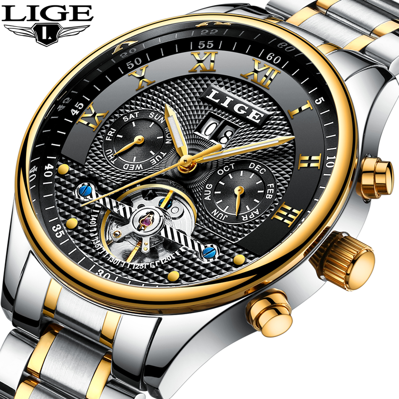 Lige mens watches top brand luxury automatic mechanical watch men full steel business waterproof for Lige watches