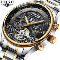 LIGE Watch Men Business Waterproof Clock Mens Watches Brand Luxury Fashion Casual Sport Mechanical Wristwatch Relogio