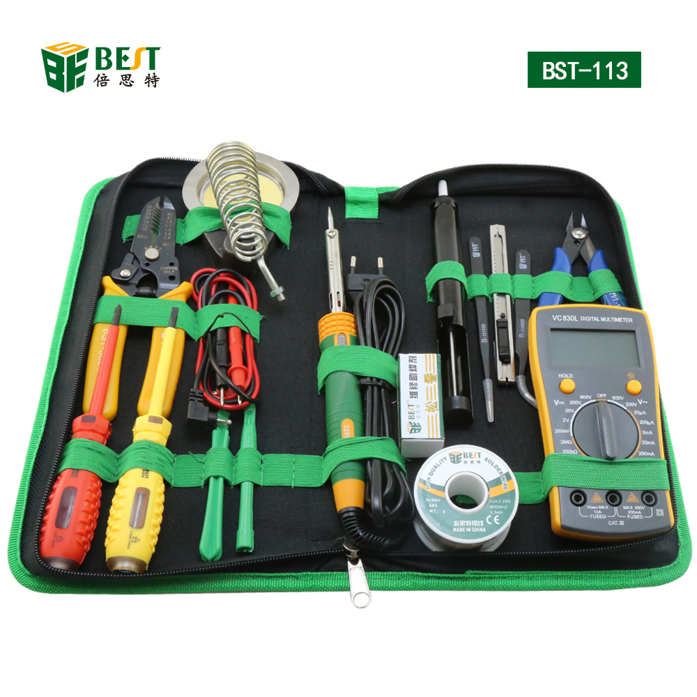Tools set BST-113 16 in 1 Household Professional Tools Screwdrivers Soldering Iron Multimeter Tweezers Repair Tool kit Tool box цена