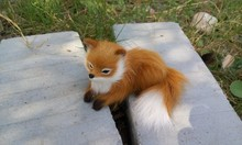 mini simulation lying fox toy lifelike small yellow fox doll gift about 11x6cm