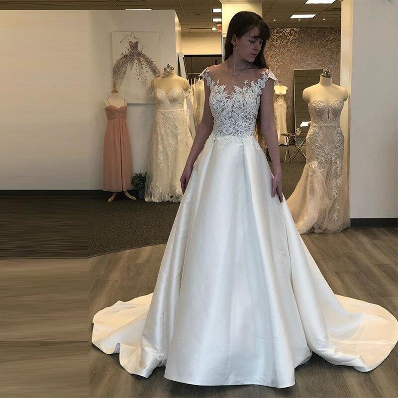 Scoop Cap Sleeves Backless Satin Elegant Wedding Dress Robe De Mariee Sofuge Boho Dubai Arabic Abiti Da Sposa