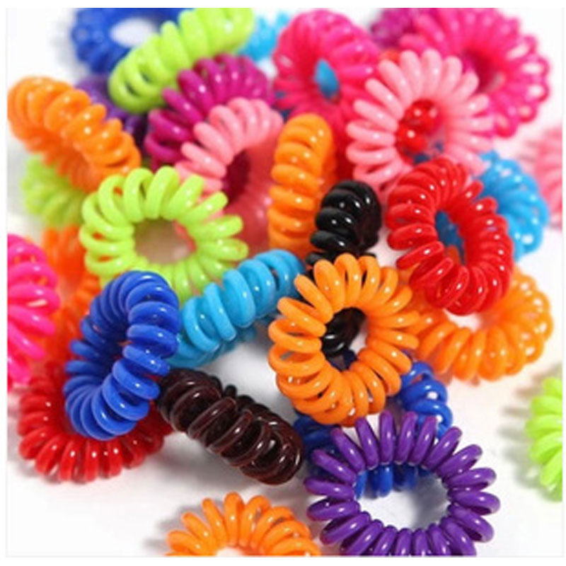 100pcs Elastic Hair Bands Girls Hair Accessories Rubber Band   Headwear   Colorful Rope Spiral Shape Hair Ties Gum Telephone Wire
