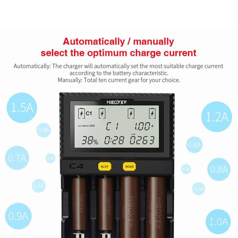 Оригинальный Miboxer C4 VC4 D4 ЖК-дисплей Батарея Зарядное устройство для Li-ion/LiFePO4/Ni-MH/Ni-Cd 18650 14500 26650AAA4. 2 3,7 v 1,2 v Бесплатная доставка