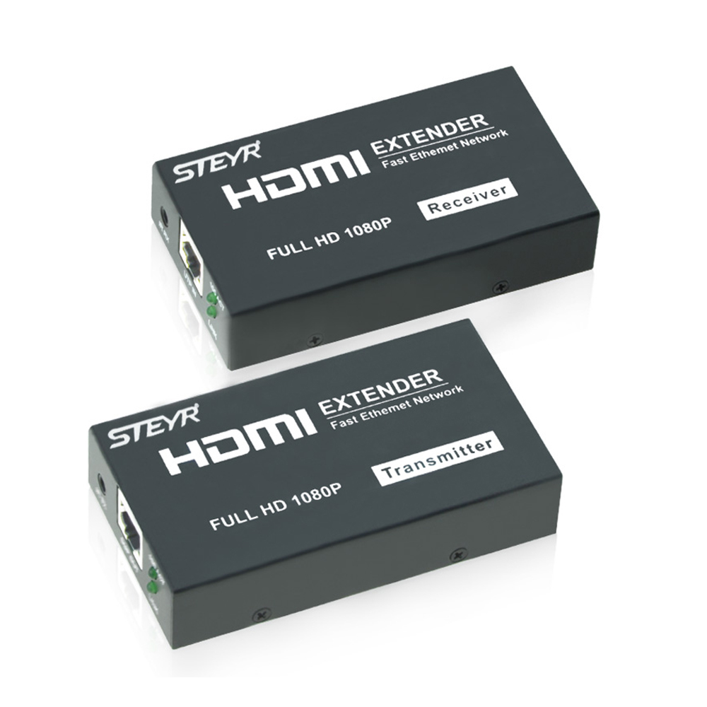 STEYR HDMI Extender 120m,HDMI Repeater with IR Remote support 1080P HDMI Ethernet Network Extender over Single Cat5/Cat5e/Cat6 80 channels hdmi to dvb t modulator hdmi extender over coaxial