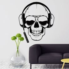 Gamer Wall Decals Skull Headphones Sticker Removable Sunglasses Player Poster Boys Room Games Decoration AY946