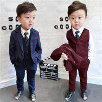High quality Boys Suits 2018 Autumn Winter New Style Children Kids Wedding Clothes 3 Pieces Sets Black Red Blue Fashion Outfits