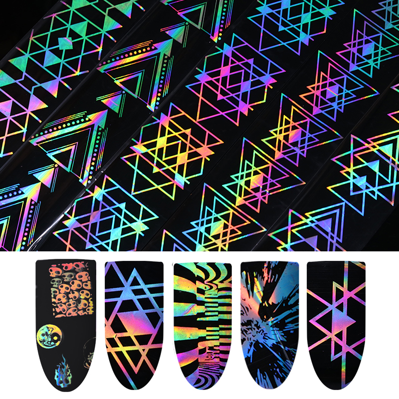 Holographic Laser Nail Foil 4*100cm Geometric Halloween Firework Wave Triangle Transfer Sticker Manicure Nail Art Decorations 9 rolls colorful flower nail foil 4 100cm holographic starry full fingernail manicure nail art transfer sticker