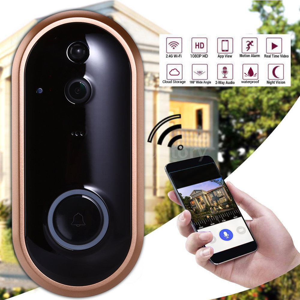 Smart WIFI Doorbell Ring PIR Motion Detection Wireless Door Bell Camera For Apartments Visitor Alarm Waterproof Security Camera