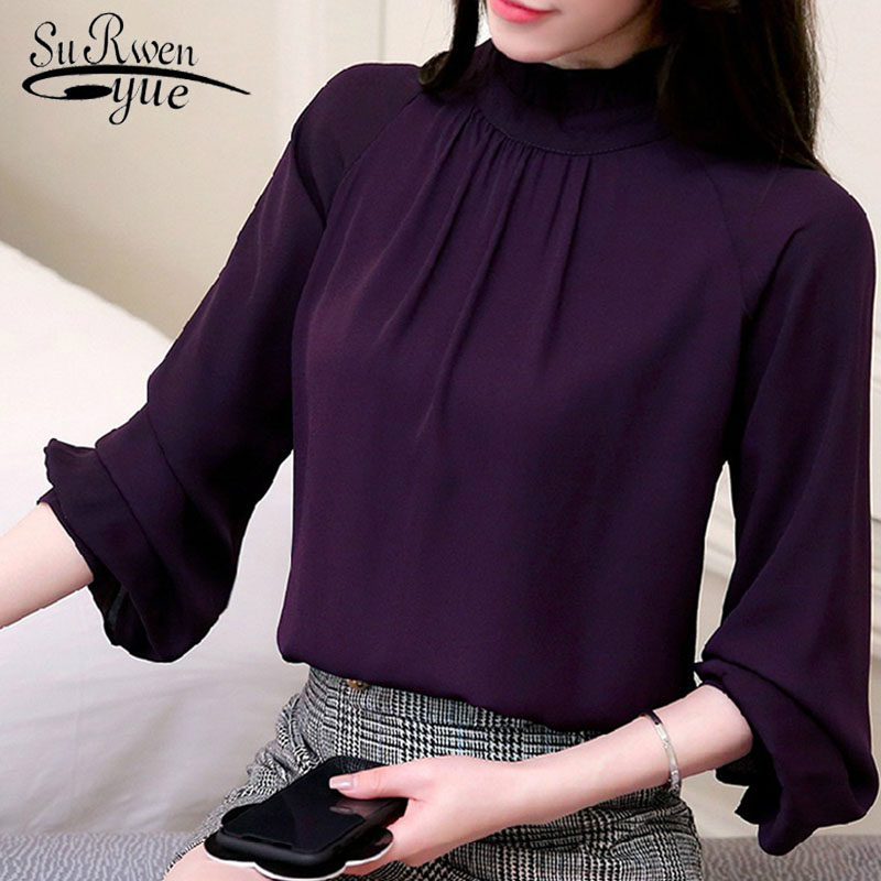 fashion woman   blouses   2018 long sleeve chiffon women   blouse     shirt   blusa feminine   blouses   women tops purple pink OL   blouse   93A 30