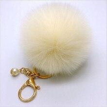 Fashion Fluffy Pompon Rabbit Fur Ball Pom Pom Keychain Women Trinket Pearl Charm Pom Pom Ball Key Chain Femmale Bag Jewelry Gift