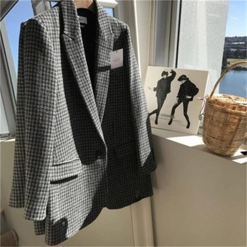 Women Plaid Blazers British Style Autumn Loose Plaid Jacket Thickening Plus Cotton Temperament Retro Woolen Small Suit Female