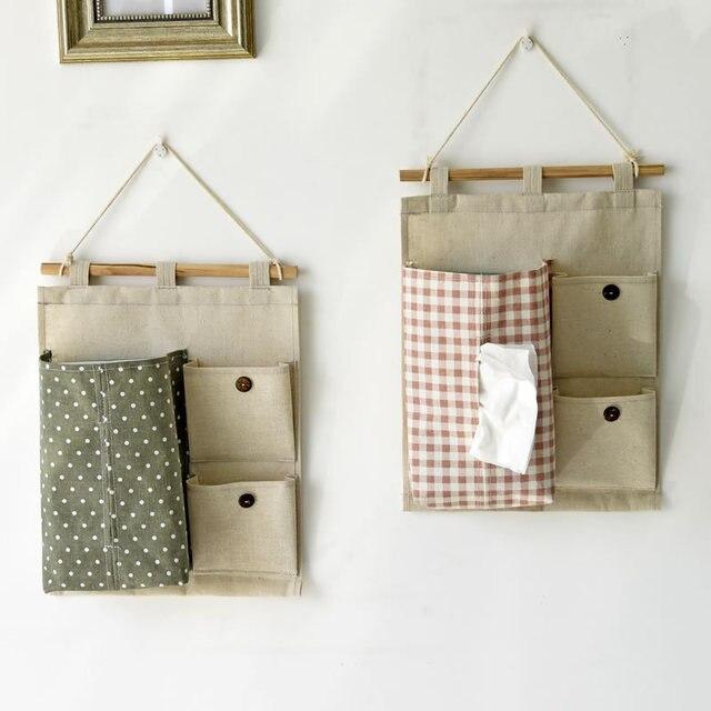 R el boites mouchoir coton plaid motif sac de rangement mural avec cas de tissu tanche suspendu - Poche de rangement mural ...