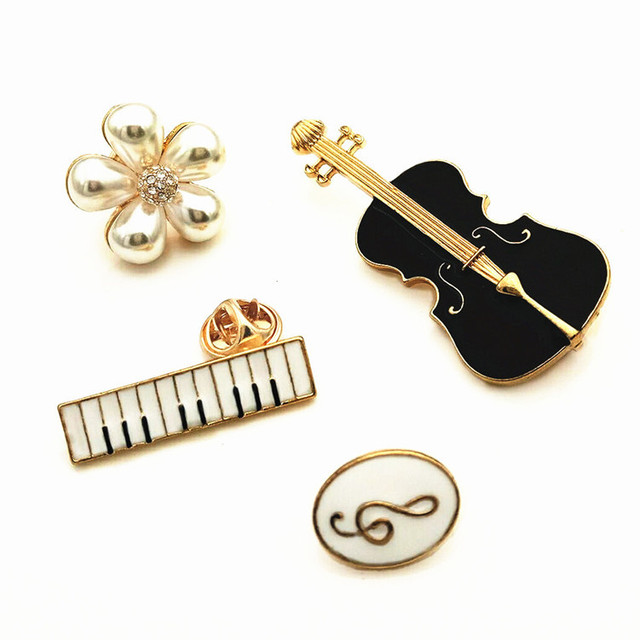 20pcs Metal Musical Instrument Breastpin Summer Tourists Souvenir Note brooch Party Favors Promotional Gift Novelties Wholesale