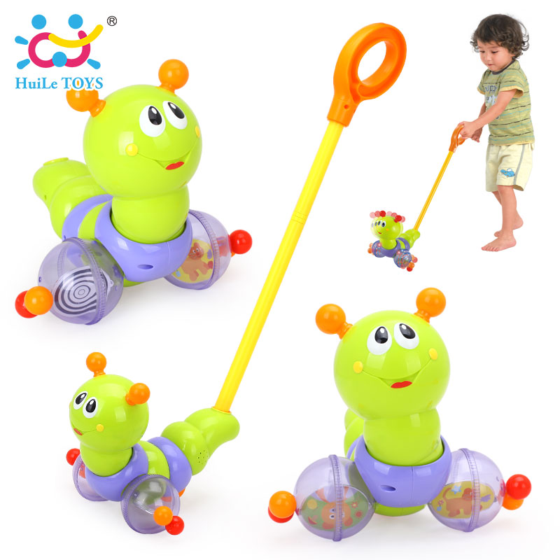 HUILE TOYS 686 Baby Toys Push & Pull Baby Walks Toys Worm Horizontal Slide Infant Kids Early Development Single Rod Hand Pushed