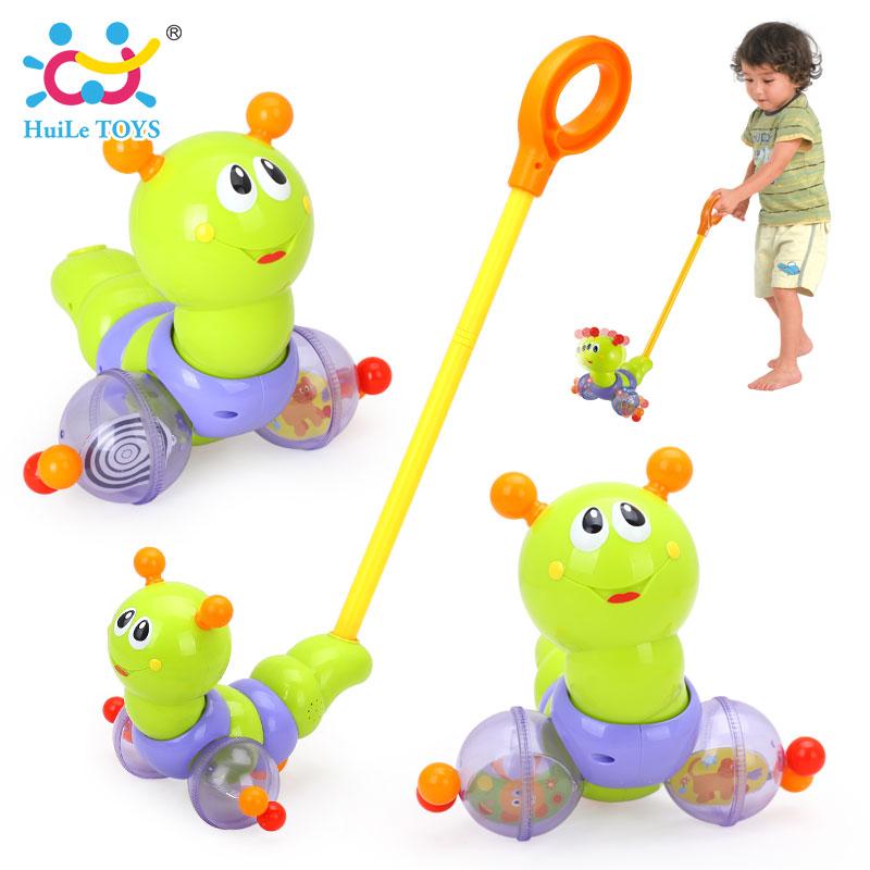 HUILE TOYS 686 Baby Toys Push & Pull Baby Walks Toys Worm Horizontal Slide Infant Kids Early Development Single Rod Hand Pushed