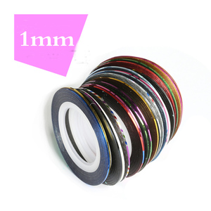 Image 4 - 30pcs Coloful Sliders For Nails Sticker Decals Tape For Nail Art Decorations Striping Tape Line Adhesive Ribbon 1mm