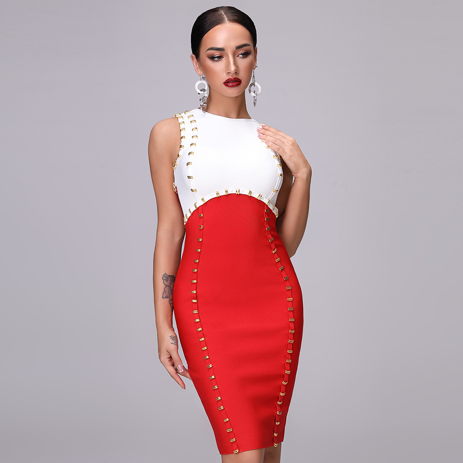 Bandage Round Neck Knee Length Dress